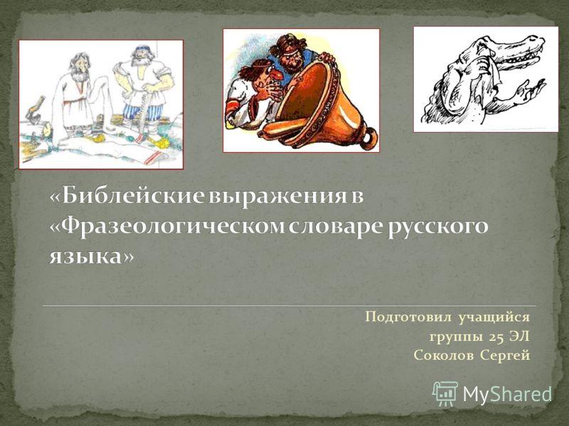 Подготовил учащийся группы 25 ЭЛ Соколов Сергей