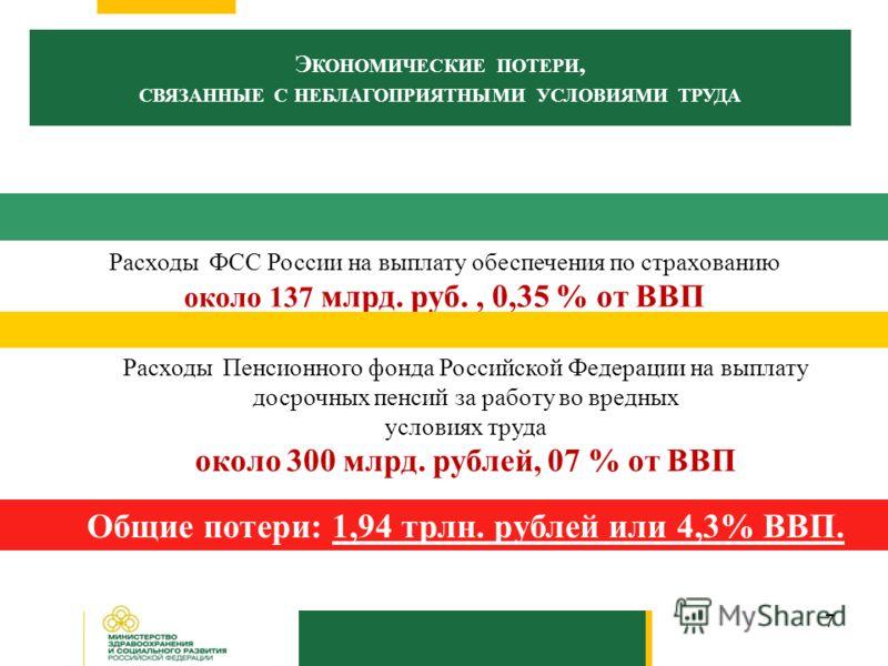 7 Э КОНОМИЧЕСКИЕ ПОТЕРИ, СВЯЗАННЫЕ С НЕБЛАГОПРИЯТНЫМИ УСЛОВИЯМИ ТРУДА Расходы ФСС России на выплату обеспечения по страхованию около 137 млрд. руб., 0,35 % от ВВП Общие потери: 1,94 трлн. рублей или 4,3% ВВП. Расходы Пенсионного фонда Российской Феде