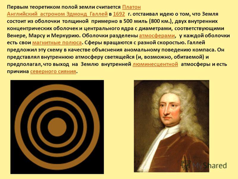 Первым теоретиком полой земли считается ПлатонПлатон Английский астроном Эдмонд ГаллейАнглийский астроном Эдмонд Галлей в 1692 г. отстаивал идею о том, что Земля состоит из оболочки толщиной примерно в 500 миль (800 км.), двух внутренних концентричес