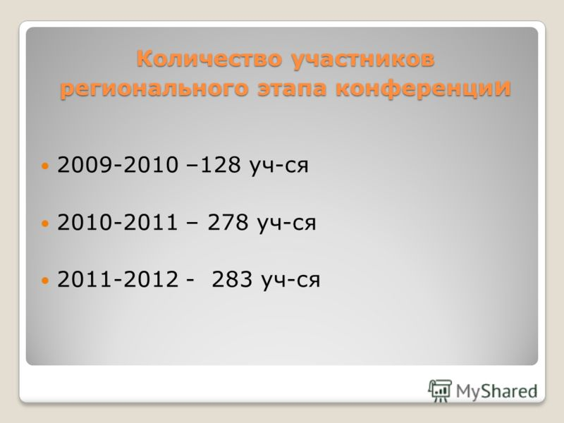 Количество участников регионального этапа конференци и 2009-2010 –128 уч-ся 2010-2011 – 278 уч-ся 2011-2012 - 283 уч-ся 4