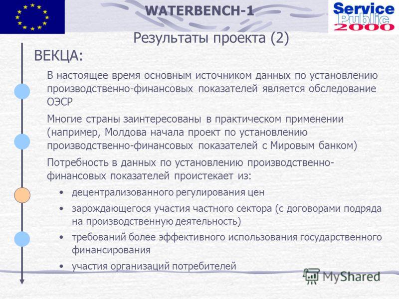 WATERBENCH-1 Результаты проекта (2) ВЕКЦА: В настоящее время основным источником данных по установлению производственно-финансовых показателей является обследование ОЭСР Многие страны заинтересованы в практическом применении (например, Молдова начала