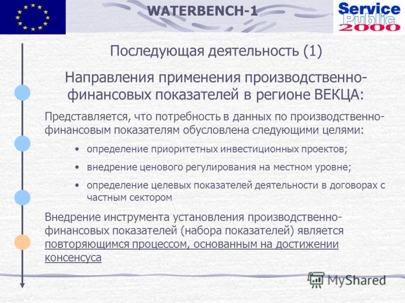 WATERBENCH-1 Последующая деятельность (1) Направления применения производственно- финансовых показателей в регионе ВЕКЦА: Представляется, что потребность в данных по производственно- финансовым показателям обусловлена следующими целями: определение п