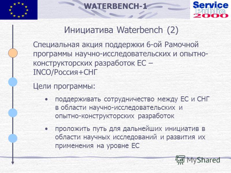 WATERBENCH-1 Инициатива Waterbench (2) Специальная акция поддержки 6-ой Рамочной программы научно-исследовательских и опытно- конструкторских разработок ЕС – INCO/Россия+СНГ Цели программы: поддерживать сотрудничество между ЕС и СНГ в области научно-