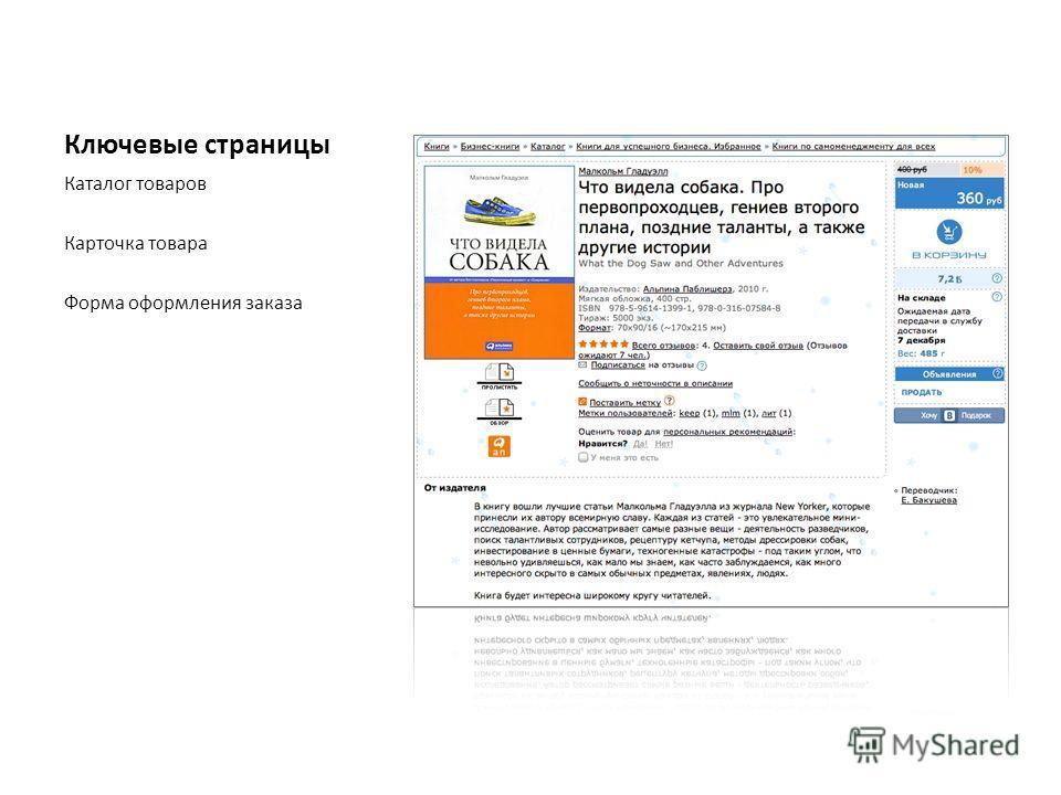 Ключевые страницы Каталог товаров Карточка товара Форма оформления заказа
