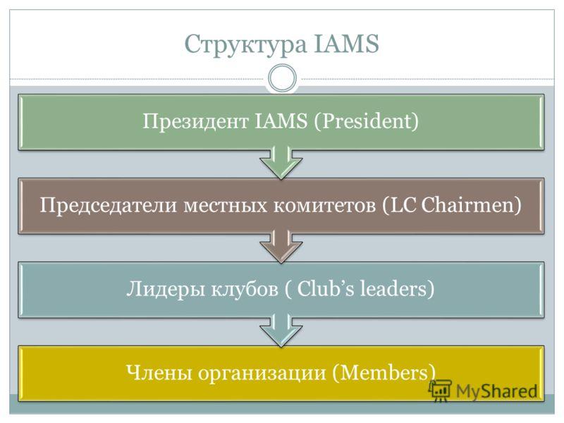 Структура IAMS Члены организации (Members) Лидеры клубов ( Clubs leaders) Председатели местных комитетов (LC Chairmen) Президент IAMS (President)