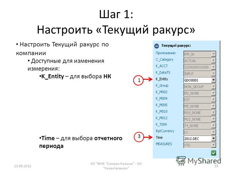 Шаг 1: Настроить «Текущий ракурс» 23.09.2012 АО ФНБ Самрук-Казына - АО Казахтелеком 19 Настроить Текущий ракурс по компании Доступные для изменения измерения: K_Entity – для выбора НК Time – для выбора отчетного периода 1 3