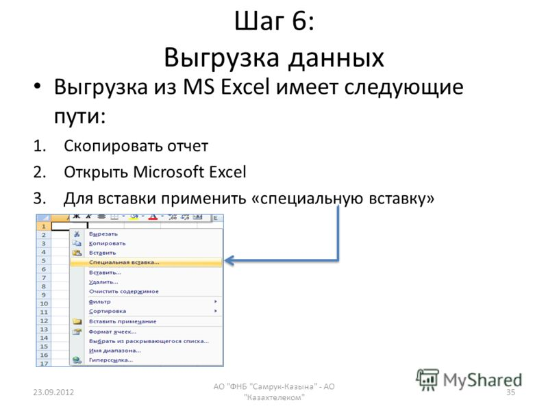 Шаг 6: Выгрузка данных Выгрузка из MS Excel имеет следующие пути: 1.Скопировать отчет 2.Открыть Microsoft Excel 3.Для вставки применить «специальную вставку» 23.09.2012 АО ФНБ Самрук-Казына - АО Казахтелеком 35