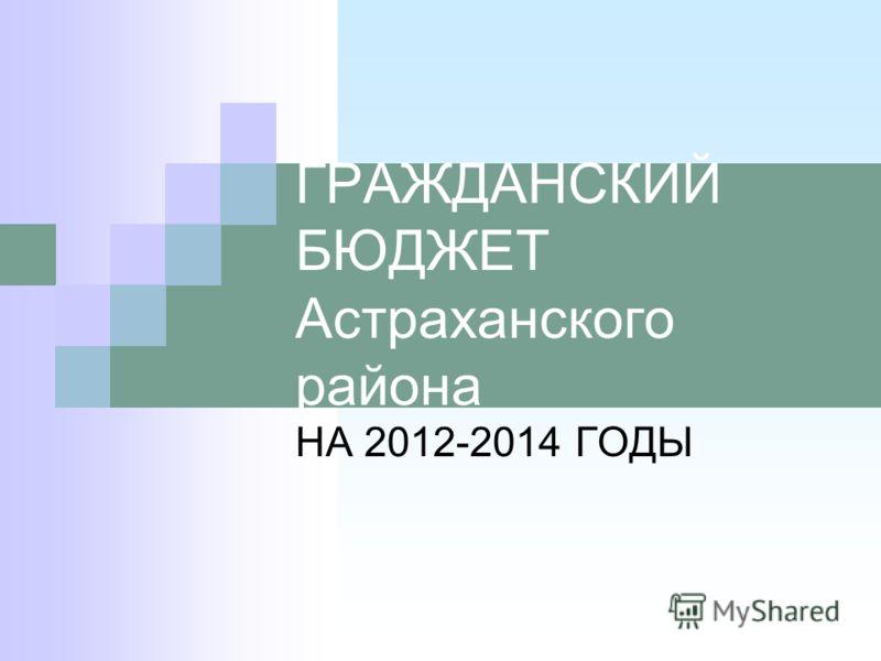 ГРАЖДАНСКИЙ БЮДЖЕТ Астраханского района НА 2012-2014 ГОДЫ