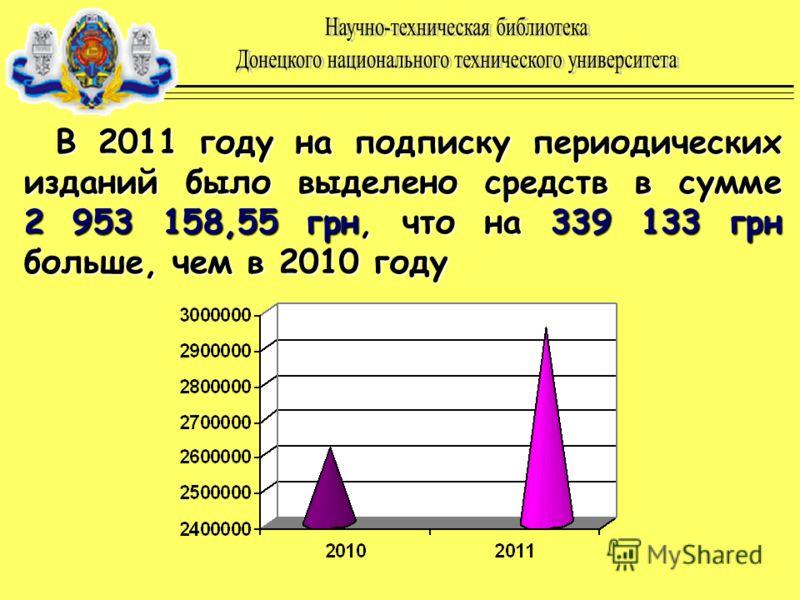 В 2011 году на подписку периодических изданий было выделено средств в сумме 2 953 158,55 грн, что на 339 133 грн больше, чем в 2010 году
