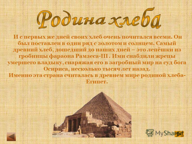 И с первых же дней своих хлеб очень почитался всеми. Он был поставлен в один ряд с золотом и солнцем. Самый древний хлеб, дошедший до наших дней – это лепёшки из гробницы фараона Рамзеса-III. Ими снабдили жрецы умершего владыку, снаряжая его в загроб