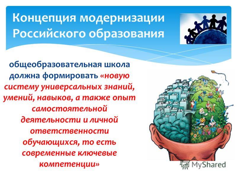 общеобразовательная школа должна формировать «новую систему универсальных знаний, умений, навыков, а также опыт самостоятельной деятельности и личной ответственности обучающихся, то есть современные ключевые компетенции» Концепция модернизации Россий