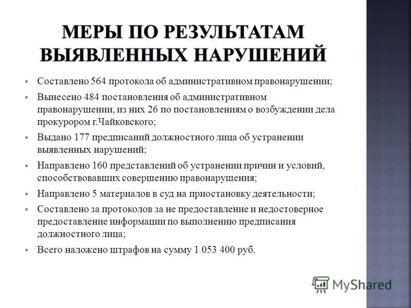 Составлено 564 протокола об административном правонарушении; Вынесено 484 постановления об административном правонарушении, из них 26 по постановлениям о возбуждении дела прокурором г.Чайковского; Выдано 177 предписаний должностного лица об устранени