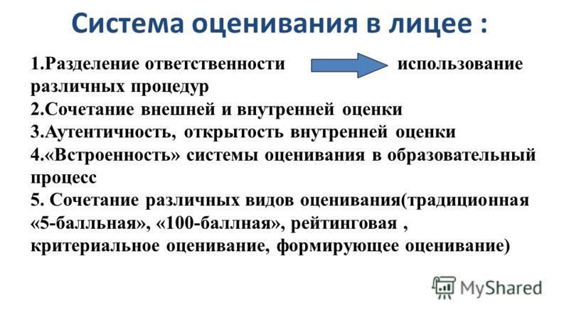 1.Разделение ответственности использование различных процедур 2.Сочетание внешней и внутренней оценки 3.Аутентичность, открытость внутренней оценки 4.«Встроенность» системы оценивания в образовательный процесс 5. Сочетание различных видов оценивания(