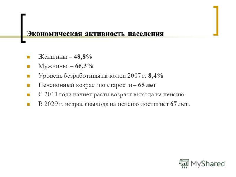 Экономическая активность населения Женщины – 48,8% Мужчины – 66,3% Уровень безработицы на конец 2007 г. 8,4% Пенсионный возраст по старости – 65 лет С 2011 года начнет расти возраст выхода на пенсию. В 2029 г. возраст выхода на пенсию достигнет 67 ле