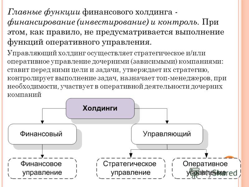Главные функции финансового холдинга - финансирование (инвестирование) и контроль. При этом, как правило, не предусматривается выполнение функций оперативного управления. Управляющий холдинг осуществляет стратегическое и/или оперативное управление до