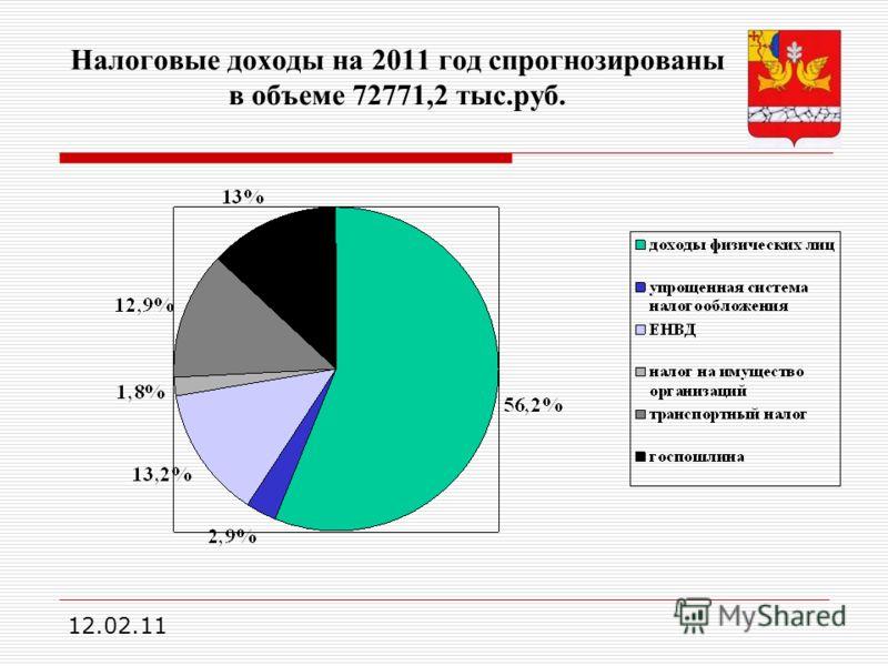 12.02.11 Налоговые доходы на 2011 год спрогнозированы в объеме 72771,2 тыс.руб.