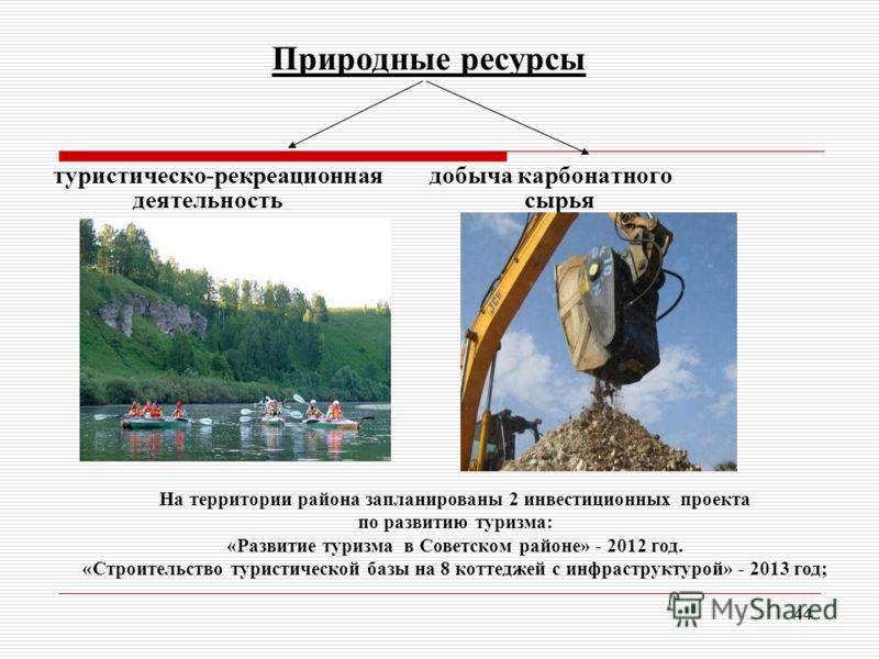 44 Природные ресурсы туристическо-рекреационная добыча карбонатного деятельность сырья На территории района запланированы 2 инвестиционных проекта по развитию туризма: «Развитие туризма в Советском районе» - 2012 год. «Строительство туристической баз