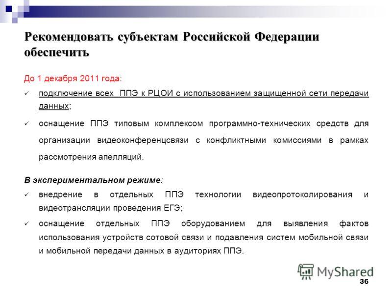 36 Рекомендовать субъектам Российской Федерации обеспечить До 1 декабря 2011 года: подключение всех ППЭ к РЦОИ с использованием защищенной сети передачи данных; оснащение ППЭ типовым комплексом программно-технических средств для организации видеоконф