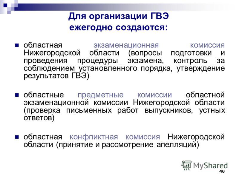 46 Для организации ГВЭ ежегодно создаются: областная экзаменационная комиссия Нижегородской области (вопросы подготовки и проведения процедуры экзамена, контроль за соблюдением установленного порядка, утверждение результатов ГВЭ) областные предметные