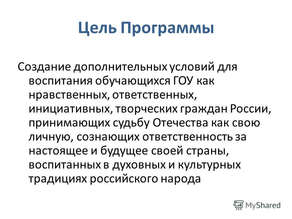 Цель Программы Создание дополнительных условий для воспитания обучающихся ГОУ как нравственных, ответственных, инициативных, творческих граждан России, принимающих судьбу Отечества как свою личную, сознающих ответственность за настоящее и будущее сво