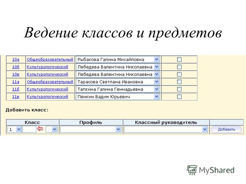 Ведение классов и предметов