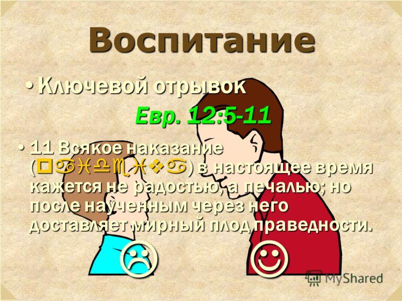 Воспитание Ключевой отрывокКлючевой отрывок Евр. 12:5-11 11 Всякое наказание ( paideiva ) в настоящее время кажется не радостью, а печалью; но после наученным через него доставляет мирный плод праведности.11 Всякое наказание ( paideiva ) в настоящее