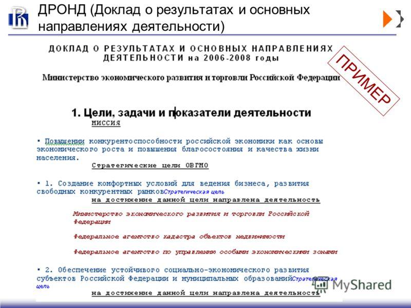 ДРОНД (Доклад о результатах и основных направлениях деятельности) ПРИМЕР