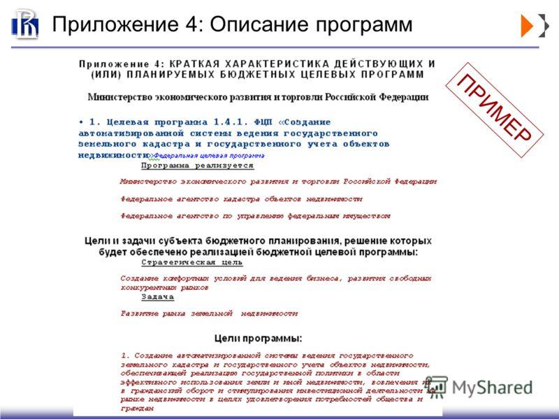Приложение 4: Описание программ ПРИМЕР