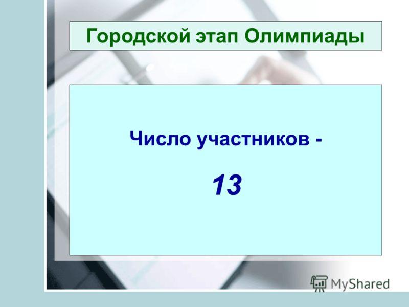 Городской этап Олимпиады Число участников - 13