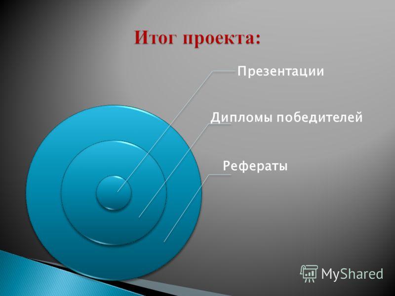 Презентации Дипломы победителей Рефераты
