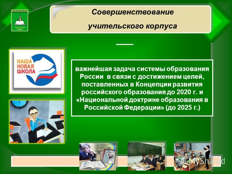 важнейшая задача системы образования России в связи с достижением целей, поставленных в Концепции развития российского образования до 2020 г. и «Национальной доктрине образования в Российской Федерации» (до 2025 г.) Совершенствование учительского кор