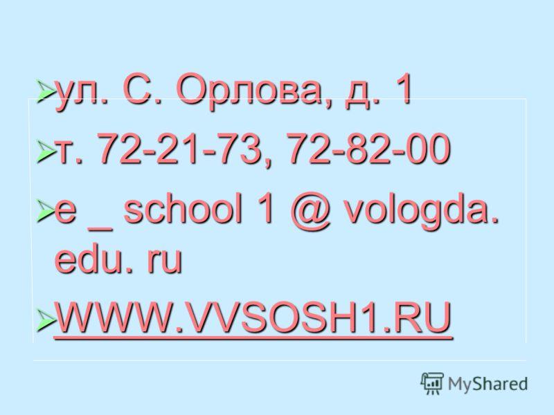 ул. С. Орлова, д. 1 ул. С. Орлова, д. 1 т. 72-21-73, 72-82-00 т. 72-21-73, 72-82-00 e _ school 1 @ vologda. edu. ru e _ school 1 @ vologda. edu. ru WWW.VVSOSH1.RU WWW.VVSOSH1.RU