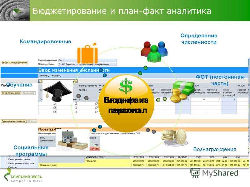 Бюджет на персонал План-факт анализ Определение численности Вознаграждения ФОТ (постоянная часть) Командировочные Бюджетирование и план-факт аналитика Обучение Социальные программы