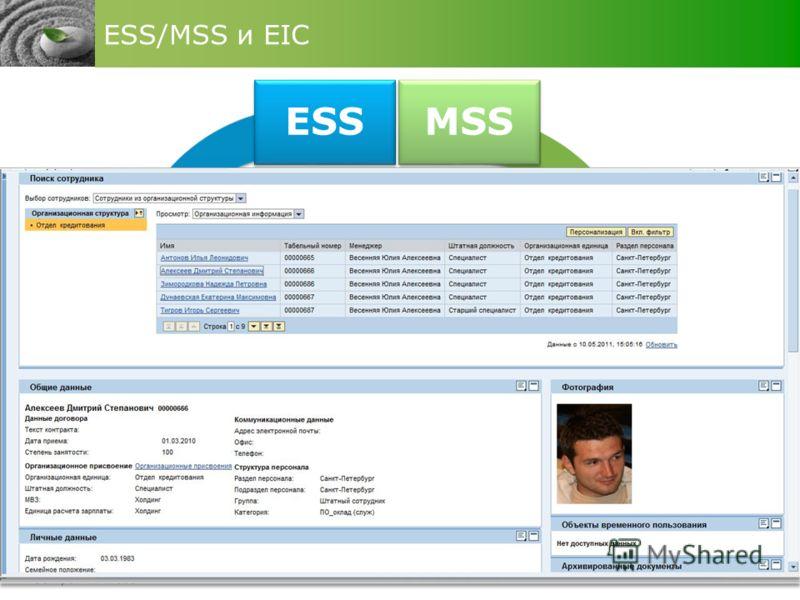 Повышение лояльности персонала ESS/MSS и EIC ESS MSS EIC информация по выплатам и персональным данным запросы на отсутствие информация по выплатам и персональным данным запросы на отсутствие централизация функции по обработки запросов сотрудников раб