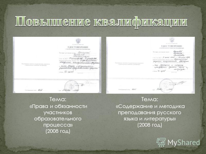 Тема: «Права и обязанности участников образовательного процесса» (2008 год) Тема: «Содержание и методика преподавания русского языка и литературы» (2008 год)