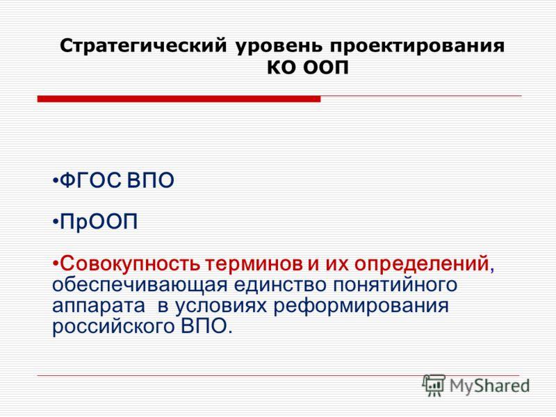 Стратегический уровень проектирования КО ООП ФГОС ВПО ПрООП Совокупность терминов и их определений, обеспечивающая единство понятийного аппарата в условиях реформирования российского ВПО.