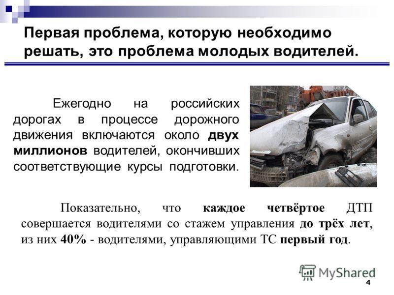 4 Первая проблема, которую необходимо решать, это проблема молодых водителей. Показательно, что каждое четвёртое ДТП совершается водителями со стажем управления до трёх лет, из них 40% - водителями, управляющими ТС первый год. Ежегодно на российских