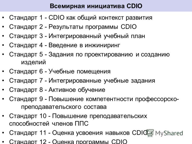 Всемирная инициатива CDIO Стандарт 1 - CDIO как общий контекст развития Стандарт 2 - Результаты программы CDIO Стандарт 3 - Интегрированный учебный план Стандарт 4 - Введение в инжиниринг Стандарт 5 - Задания по проектированию и созданию изделий Стан
