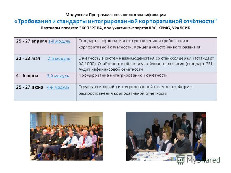 Модульная Программа повышения квалификации «Требования и стандарты интегрированной корпоративной отчётности Партнеры проекта: ЭКСПЕРТ РА, при участии экспертов IIRC, KPMG, УРАЛСИБ