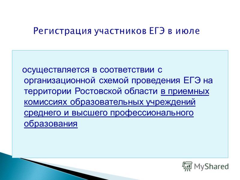 осуществляется в соответствии с организационной схемой проведения ЕГЭ на территории Ростовской области в приемных комиссиях образовательных учреждений среднего и высшего профессионального образования Регистрация участников ЕГЭ в июле