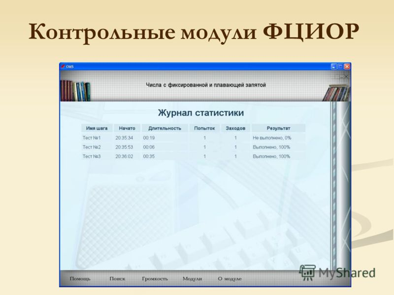 Контрольные модули ФЦИОР
