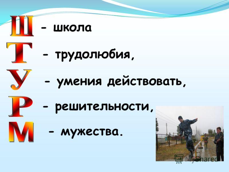- школа - решительности, - трудолюбия, - умения действовать, - мужества.