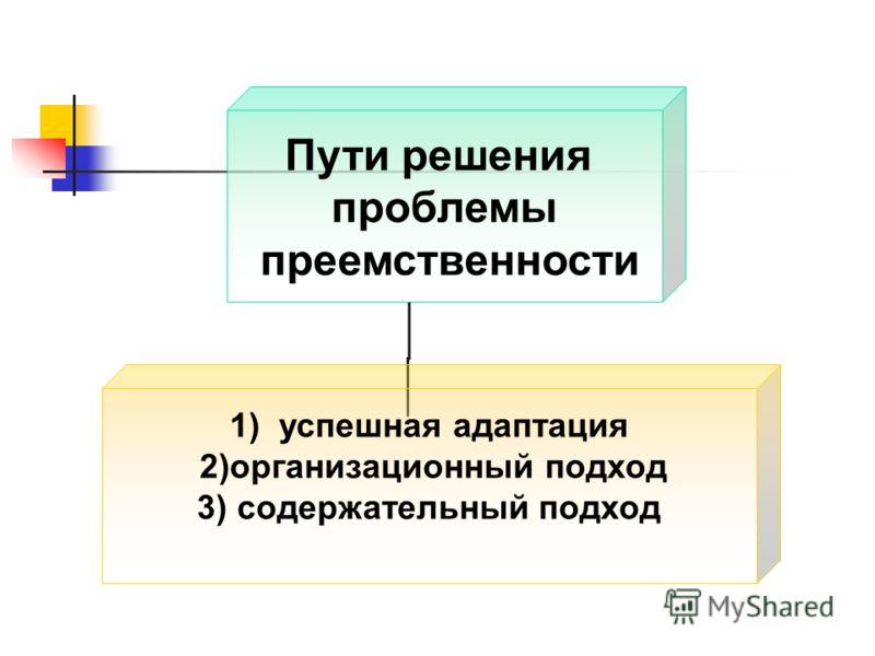 Пути решения проблемы преемственности 1)успешная адаптация 2)организационный подход 3) содержательный подход