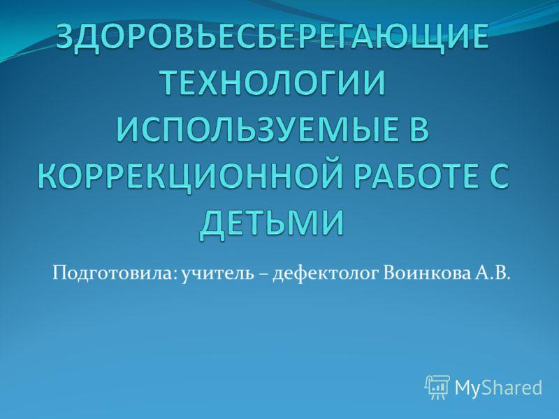 Подготовила: учитель – дефектолог Воинкова А.В.