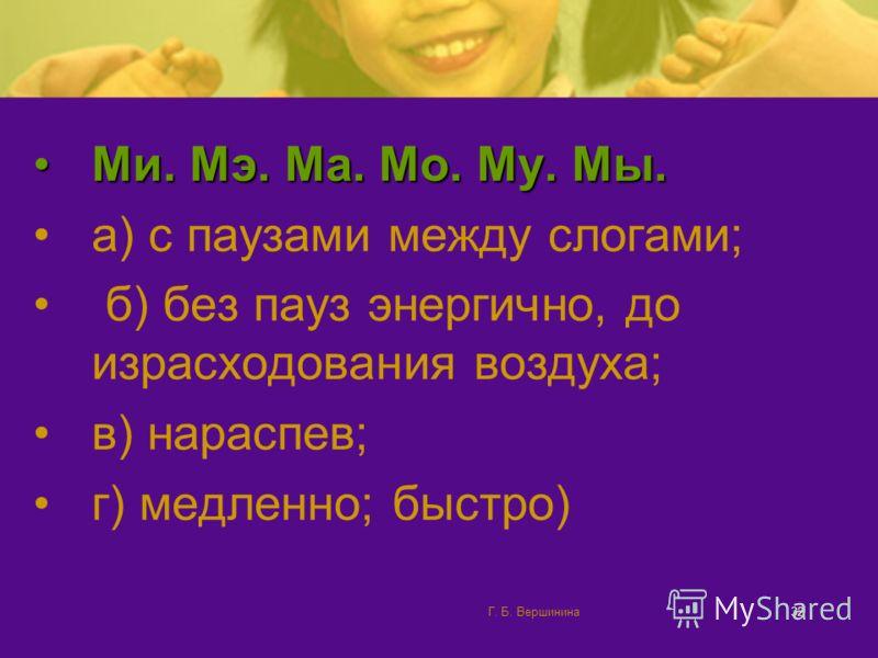 Г. Б. Вершинина31 При поднятом мягком небе воздух поступает только в полость рта. Упражнения 1.С делайте глубокий вдох. На выдохе – плавно. Протяжно произнесите: мми, ммэ, мма, ммо, мму, ммы; лли, ллэ, лла, лло, ллу, ллы; нни, ннэ, нна, нно, нну, нны