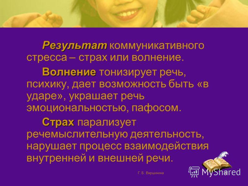 Г. Б. Вершинина69 Рассредоточенность внимания Забывание информации (трудность одновременного контроля речи и аудитории) Бессознательные движения («манеризмы»)