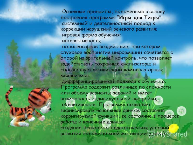 Основные принципы, положенные в основу построения программы Игры для Тигры: системный и деятельностный подход к коррекции нарушений речевого развития; игровая форма обучения; интерактивность; полисенсорное воздействие, при котором слуховое восприятие