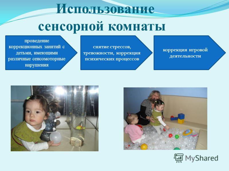 проведение коррекционных занятий с детьми, имеющими различные сенсомоторные нарушения снятие стрессов, тревожности, коррекция психических процессов коррекция игровой деятельности Использование сенсорной комнаты