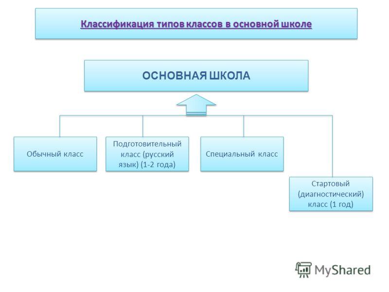 ОСНОВНАЯ ШКОЛА Обычный класс Классификация типов классов в основной школе Подготовительный класс (русский язык) (1-2 года) Специальный класс Стартовый (диагностический) класс (1 год)