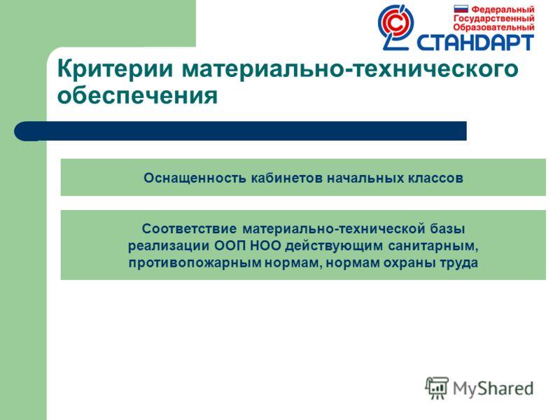 Критерии материально-технического обеспечения Оснащенность кабинетов начальных классов Соответствие материально-технической базы реализации ООП НОО действующим санитарным, противопожарным нормам, нормам охраны труда
